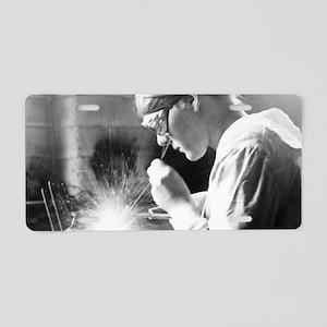 Vintage Woman TIG Welder Aluminum License Plate