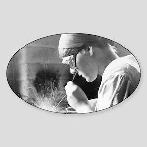 Vintage Woman TIG Welder Sticker