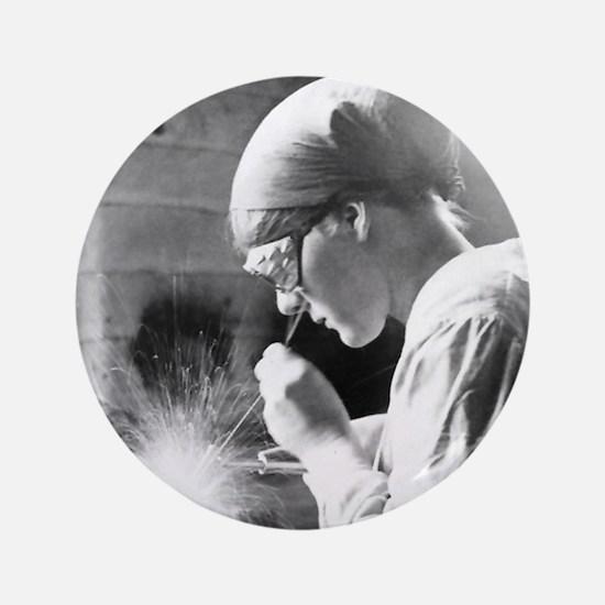 Vintage Woman TIG Welder Button