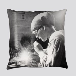 Vintage Woman TIG Welder Everyday Pillow