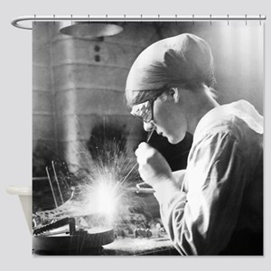 Vintage Woman TIG Welder Shower Curtain