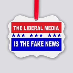 Liberal Fake News Picture Ornament