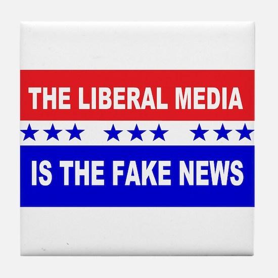 Liberal Fake News Tile Coaster
