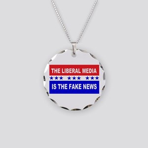 Liberal Fake News Necklace Circle Charm
