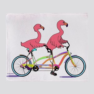 Tandem Flamingos Throw Blanket
