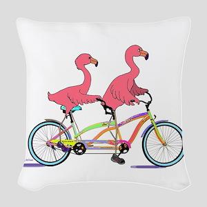 Tandem Flamingos Woven Throw Pillow