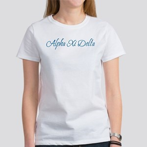 Alpha Xi Delta Sorority Name in Blue Cursive Font