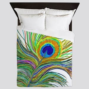 PAINTED PEACOCK FEATHER S2 Queen Duvet