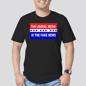 Liberal Fake News Men's Fitted T-Shirt (dark)
