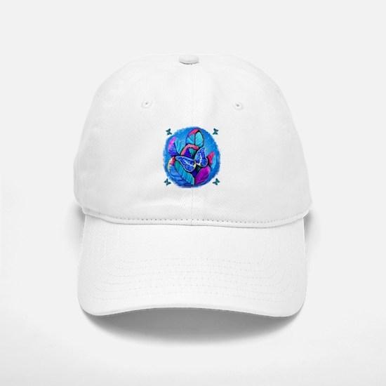 BLUE BUTTERFLIES AND FEATHERS Baseball Baseball Cap