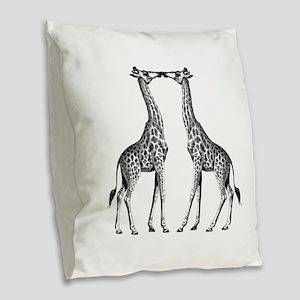 Giraffes Kissing Burlap Throw Pillow