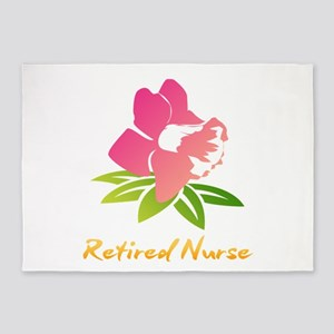 Retired Nurse Flower 5'x7'Area Rug