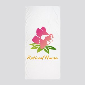 Retired Nurse Flower Beach Towel