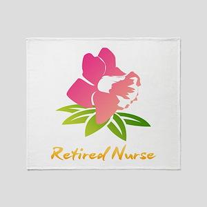 Retired Nurse Flower Throw Blanket