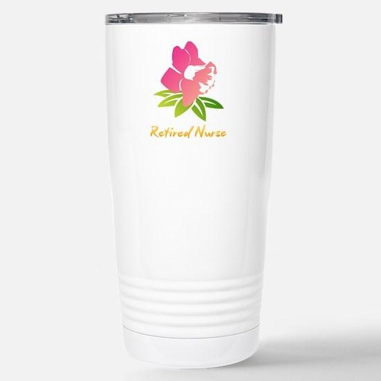 Retired Nurse Flower Stainless Steel Travel Mug