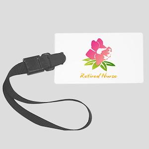 Retired Nurse Flower Large Luggage Tag