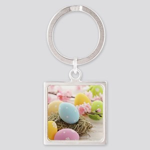 Easter Eggs Square Keychain