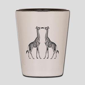 Giraffes Kissing Shot Glass