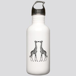 Giraffes Kissing Water Bottle