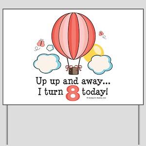 Eighth 8th Birthday Hot Air Balloon Yard Sign