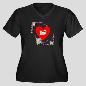 Pekingese Love Women's Plus Size V-Neck Dark T-Shi