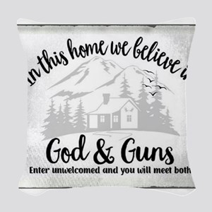 God & Guns Woven Throw Pillow