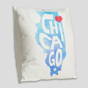 I Heart Chicago Illinois Water Burlap Throw Pillow