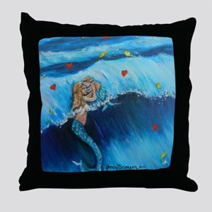 Mother Mermaid with baby. Throw Pillow