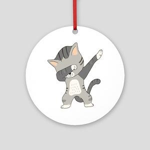 Dabbing Cat Round Ornament