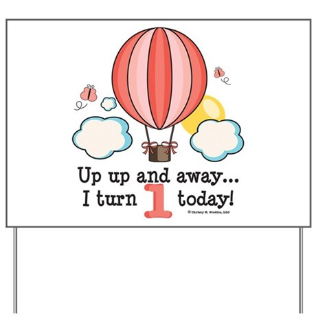 First 1st Birthday Hot Air Balloon Yard Sign By Chrissyhstudios