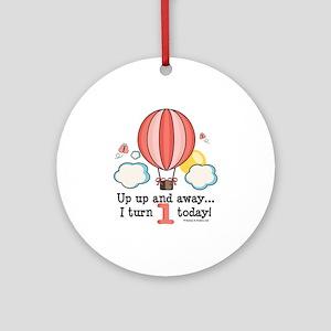 First 1st Birthday Hot Air Balloon Ornament (Round