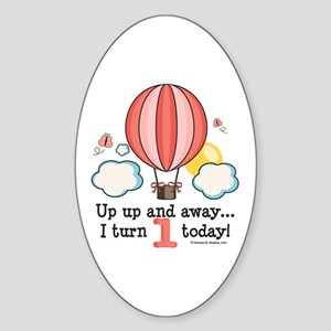 First 1st Birthday Hot Air Balloon Oval Sticker
