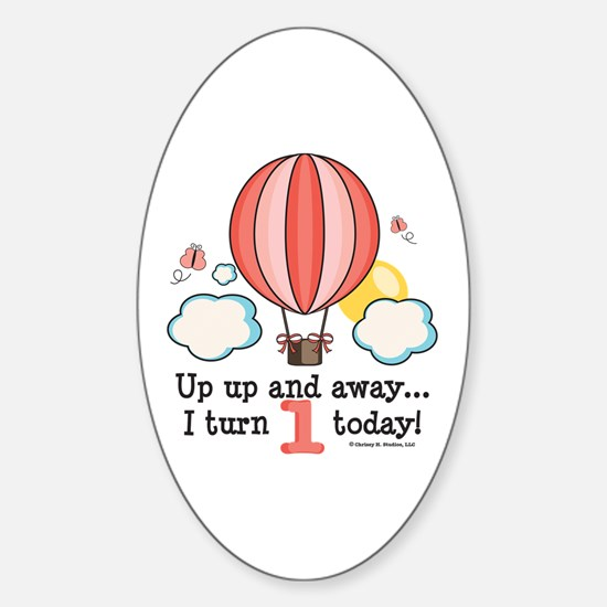 First 1st Birthday Hot Air Balloon Oval Decal