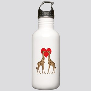Giraffes Kissing Water Bottle