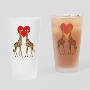 Giraffes Kissing Drinking Glass