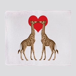 Giraffes Kissing Throw Blanket
