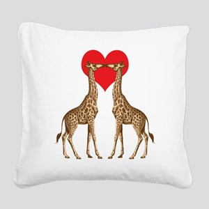 Giraffes Kissing Square Canvas Pillow