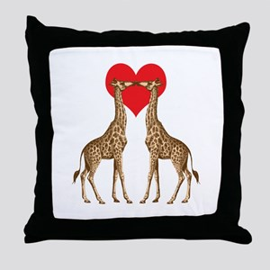 Giraffes Kissing Throw Pillow