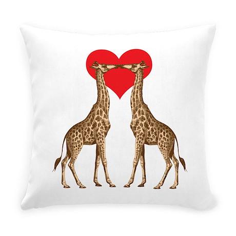Giraffes Kissing Everyday Pillow