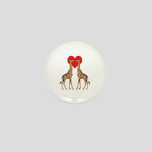 Giraffes Kissing Mini Button