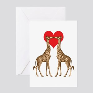 Giraffes Kissing Greeting Cards