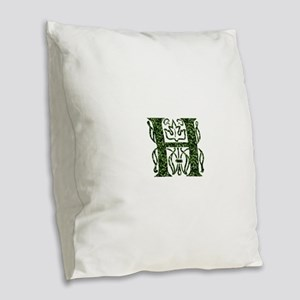 Ivy Monogram H - Burlap Throw Pillow