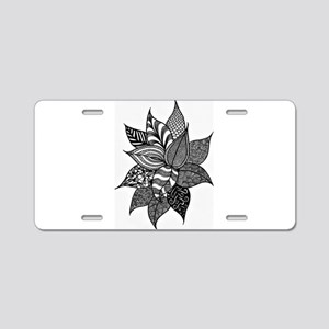 Beautiful Zen Doodle Leaves Aluminum License Plate