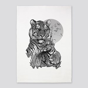 Tiger and Cub (B/W) 5'x7'Area Rug