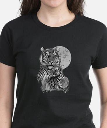 Tiger and Cub (B/W) Women's Dark T-Shirt