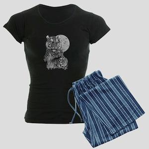 Tiger and Cub (B/W) Women's Dark Pajamas
