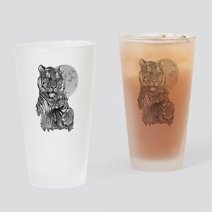Tiger and Cub (B/W) Drinking Glass