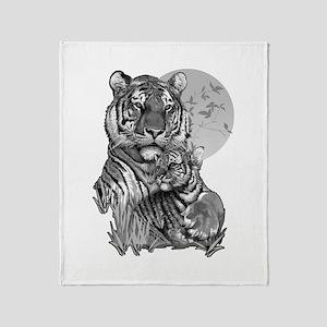 Tiger and Cub (B/W) Throw Blanket