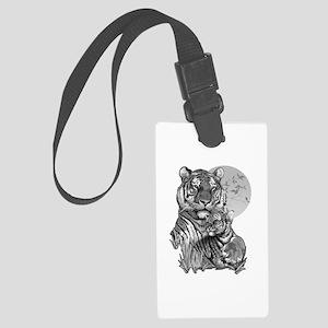 Tiger and Cub (B/W) Large Luggage Tag