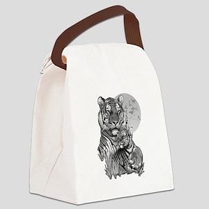Tiger and Cub (B/W) Canvas Lunch Bag